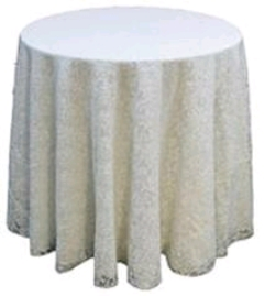 Where to rent 90  TABLECLTH, IVORY LACE in Spartanburg SC