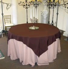 Where to rent 72 x72  OVLY TABLECLTH, CHOCOLATE in Spartanburg SC