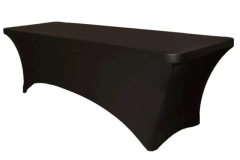 Where to rent 8  SPANDEX TABLE COVER - BLACK in Spartanburg SC